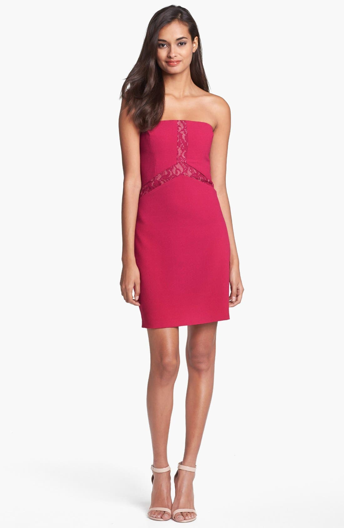 Alternate Image 1 Selected - Max & Cleo Lace Inset Crepe Sheath Dress
