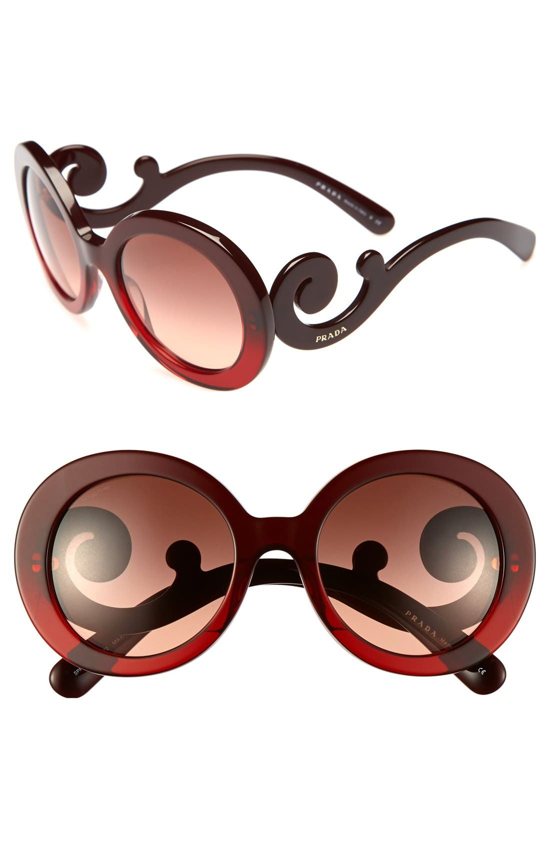 'Baroque' 55mm Round Sunglasses,                         Main,                         color, Red