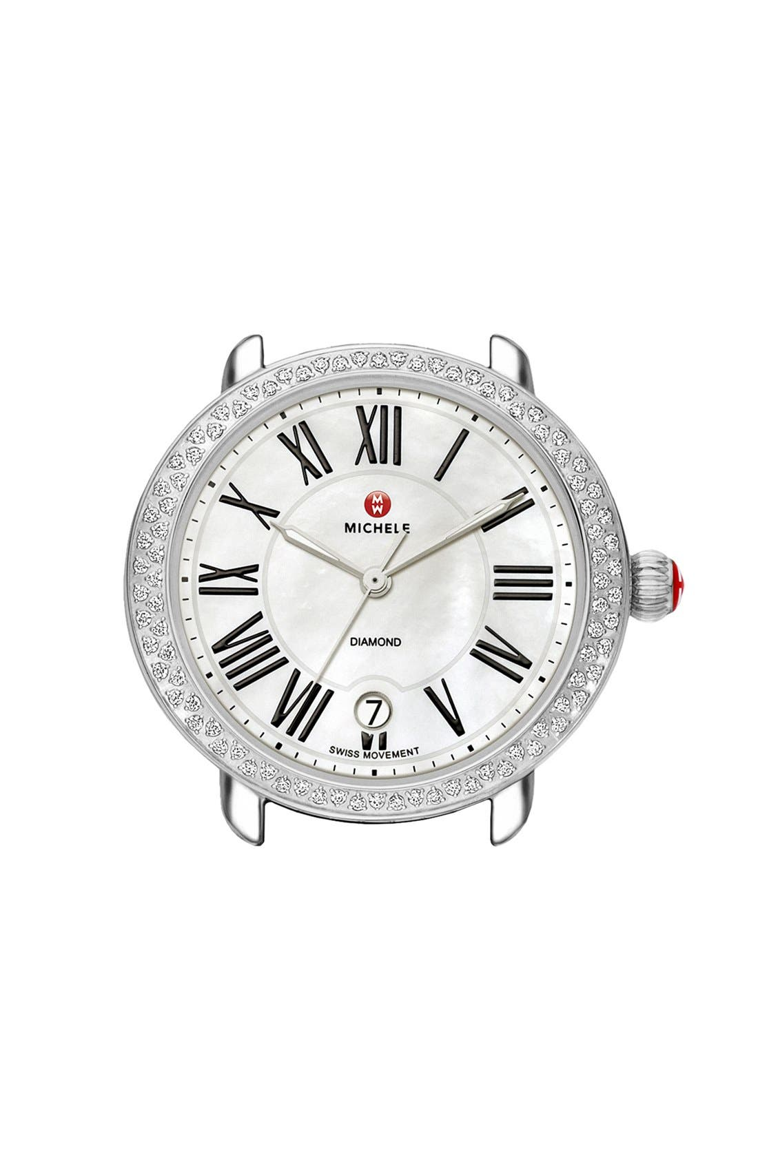 Alternate Image 1 Selected - MICHELE Serein 16 Diamond Gold Plated Watch Case, 34mm x 36mm