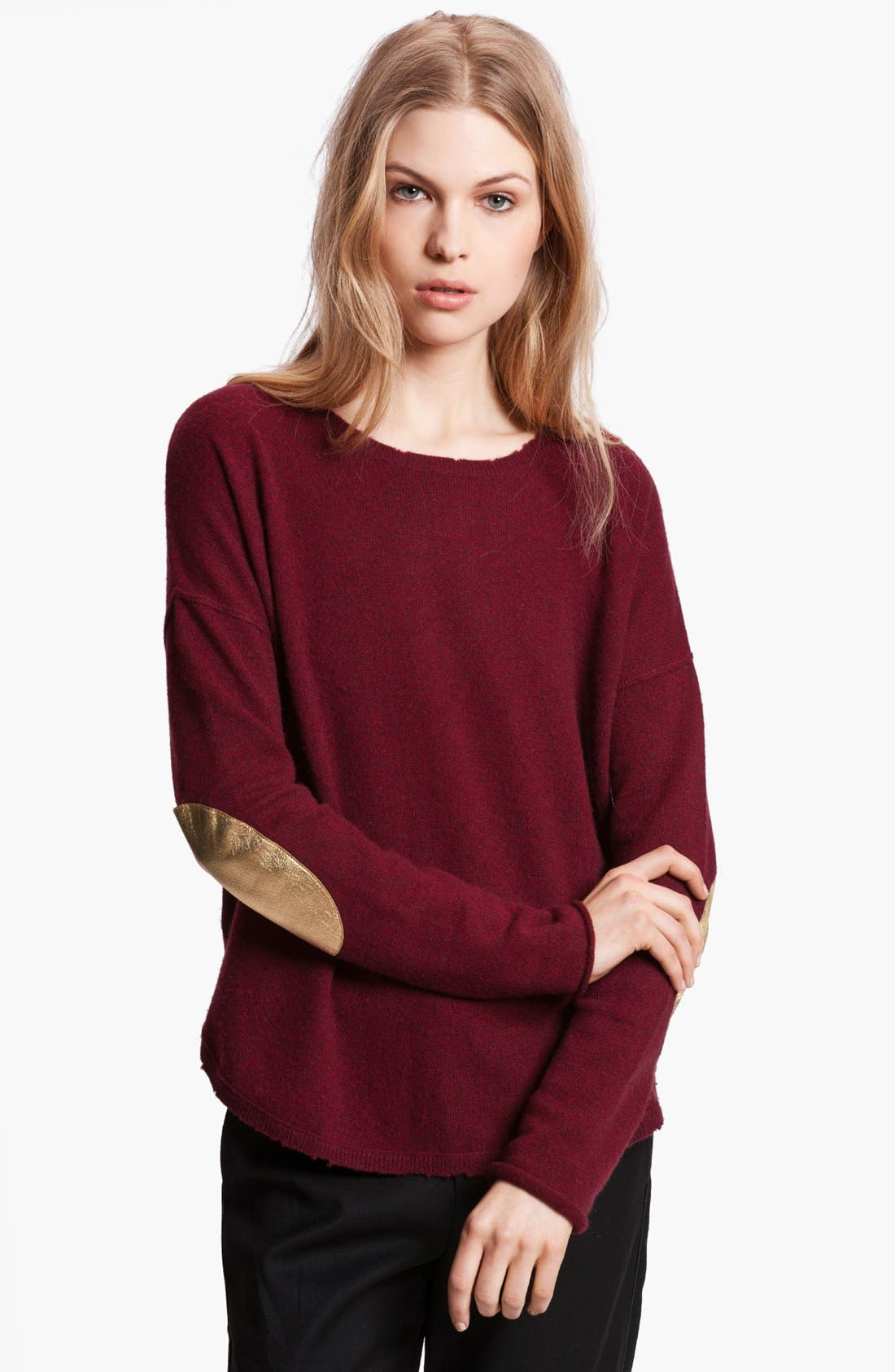 Alternate Image 1 Selected - Zadig & Voltaire 'Kimmy' Elbow Patch Cashmere Sweater