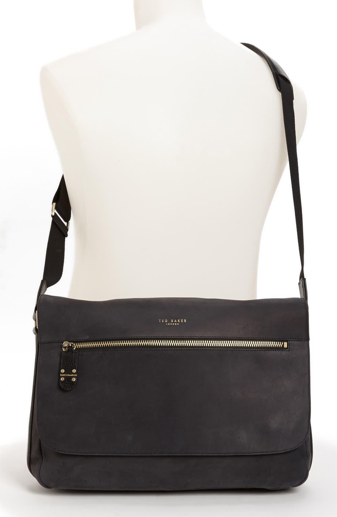 Alternate Image 4  - Ted Baker London Leather Messenger Bag