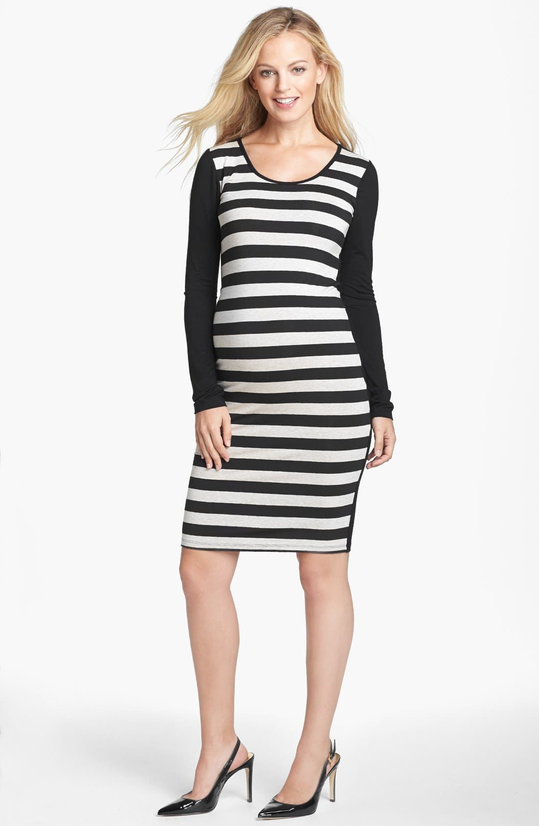 Alternate Image 1 Selected - Nom Maternity 'Krystal' Stripe Maternity Dress