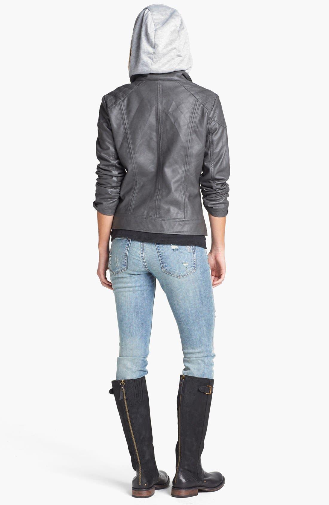 Alternate Image 5  - Jessica Simpson 'Heathcliff' Hooded Faux Leather Jacket