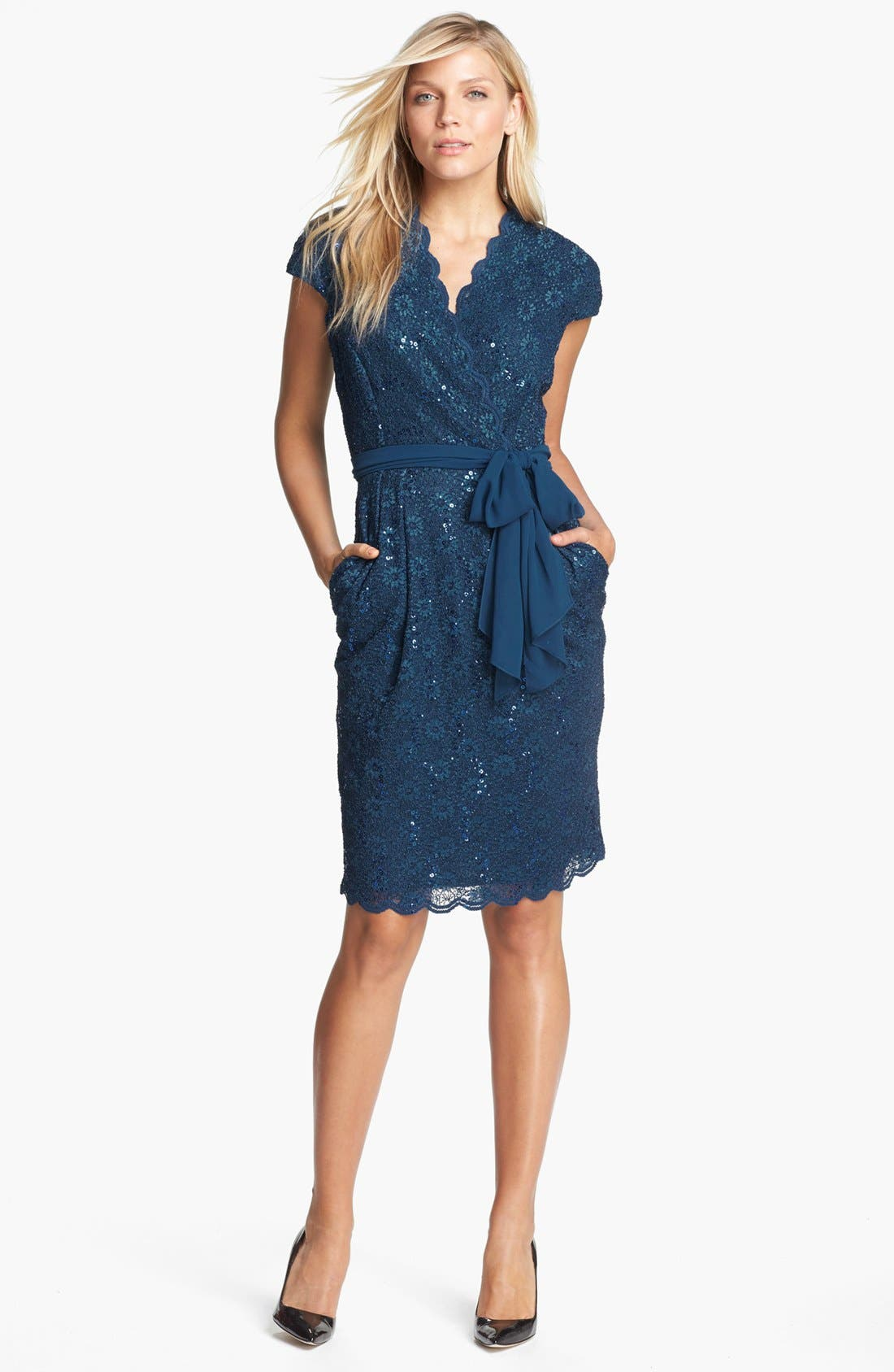 Main Image - Alex Evenings Scalloped Lace Surplice Dress
