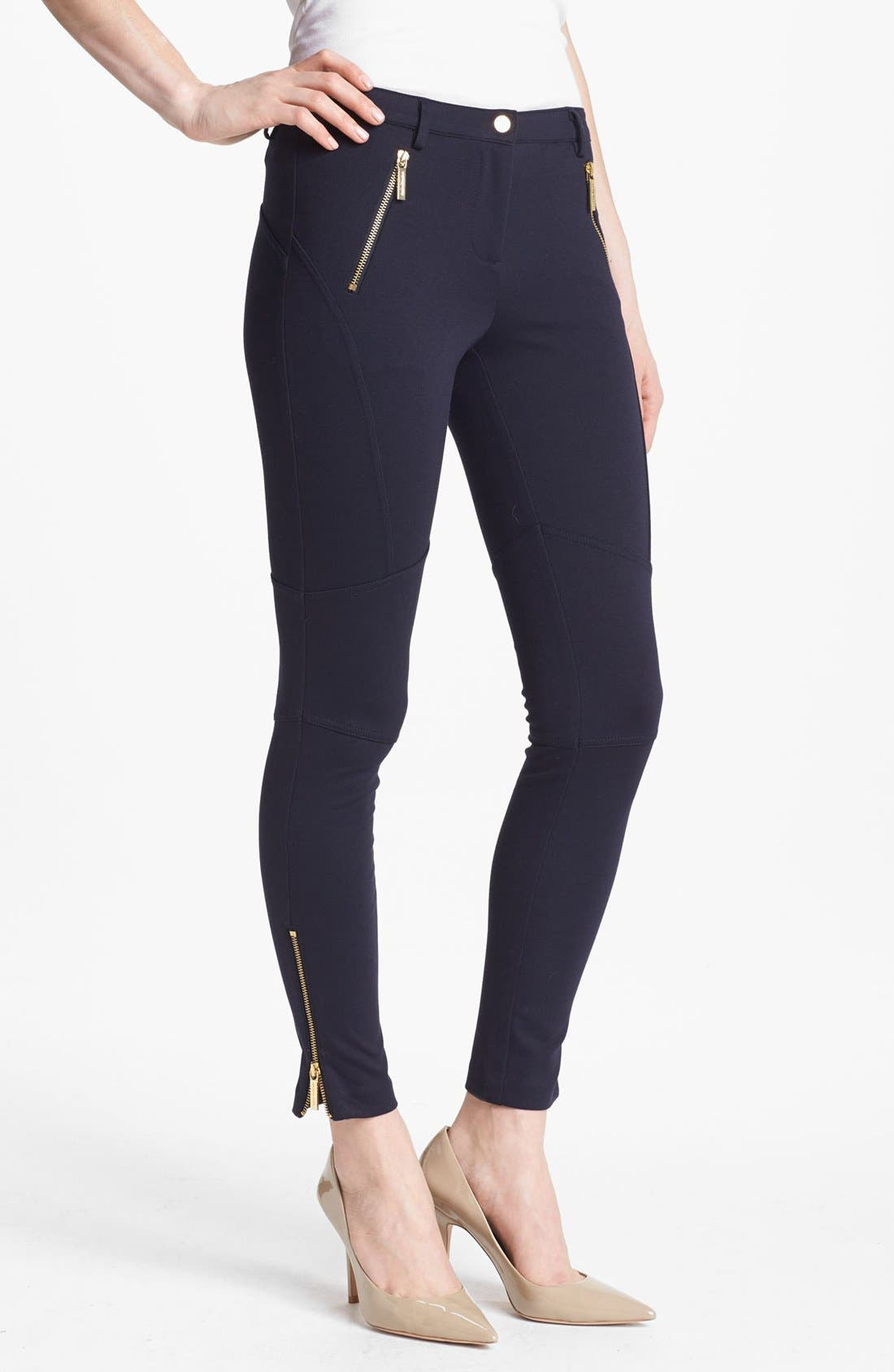 Main Image - MICHAEL Michael Kors Zip Detail Seamed Ponte Pants