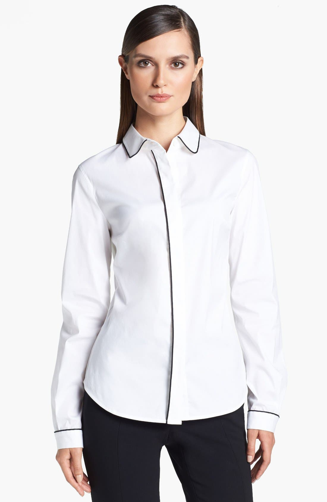 Alternate Image 1 Selected - St. John Collection Piped Poplin Blouse
