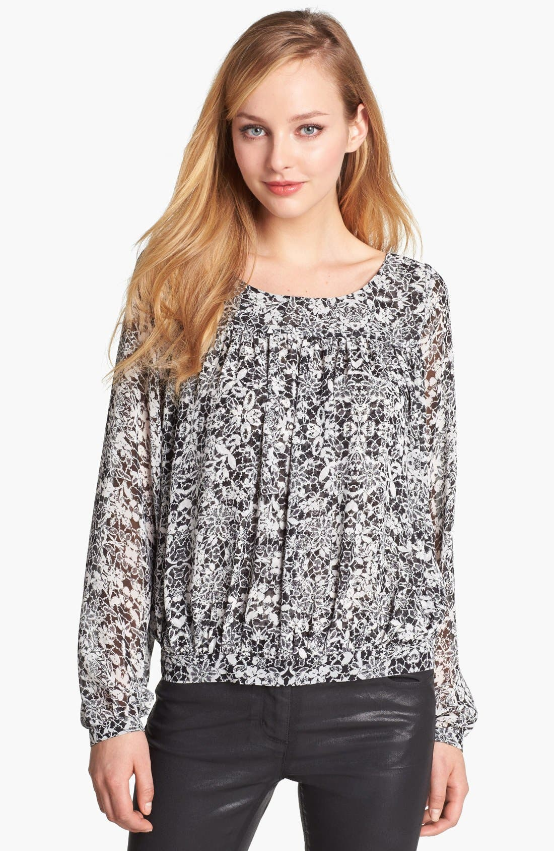 Alternate Image 1 Selected - Vince Camuto Floral Print Peasant Blouse