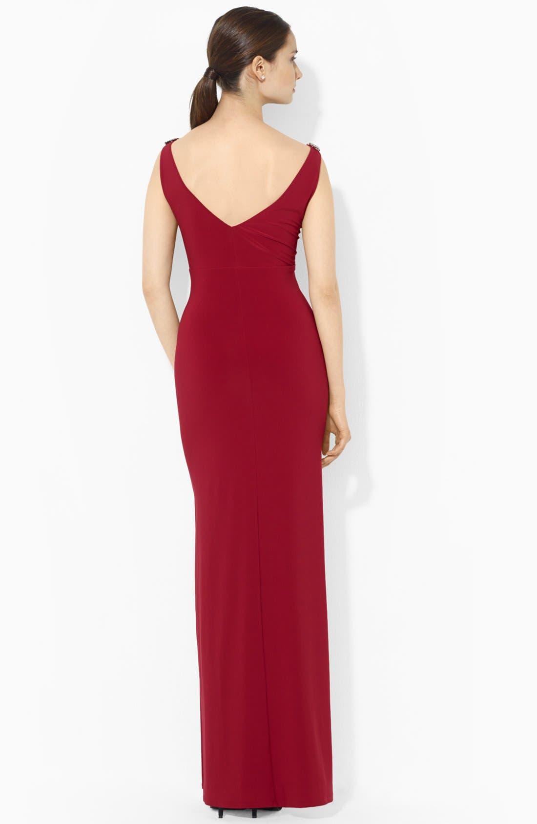 Alternate Image 2  - Lauren Ralph Lauren Empire Matte Jersey Gown