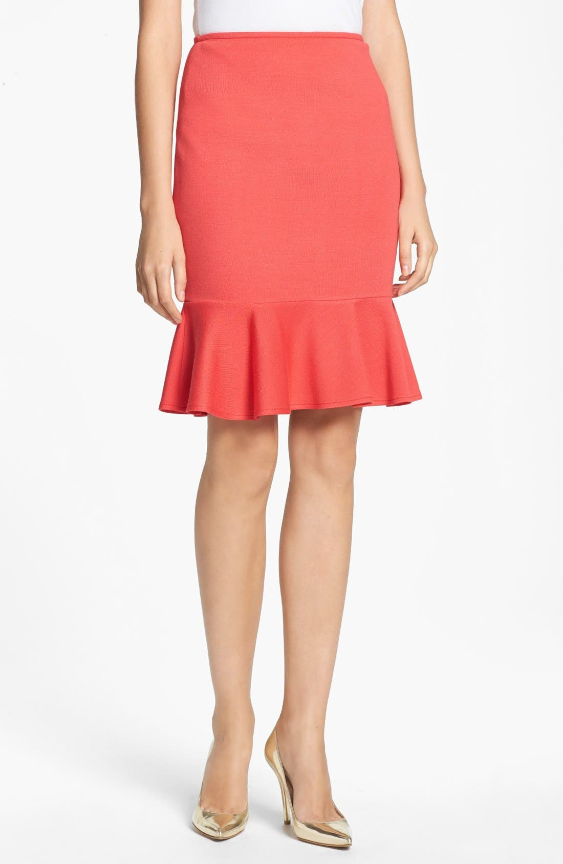 Main Image - St. John Collection Flounce Hem Milano Knit Pencil Skirt