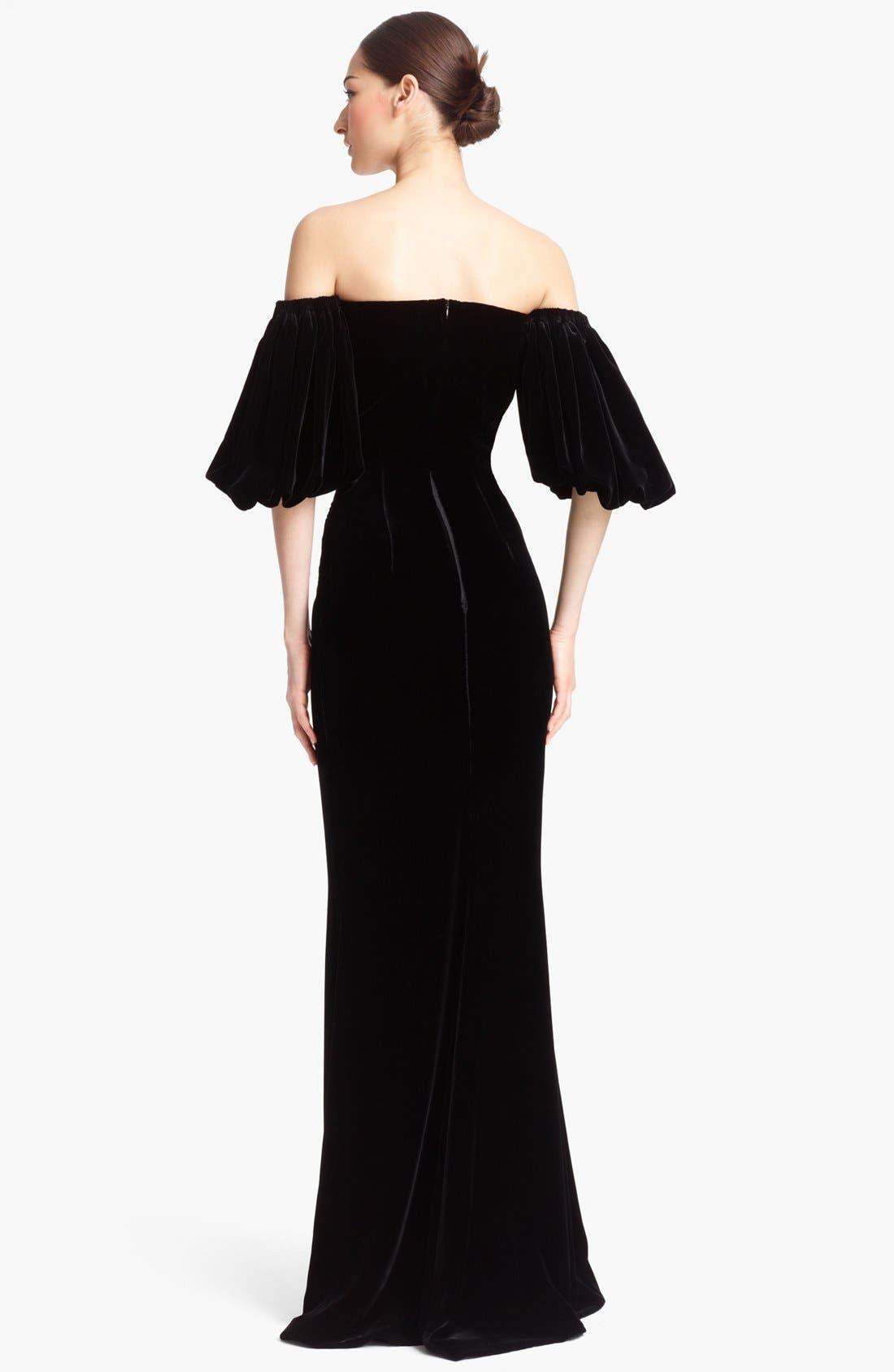 Alternate Image 2  - Alexander McQueen Off Shoulder Velvet Gown
