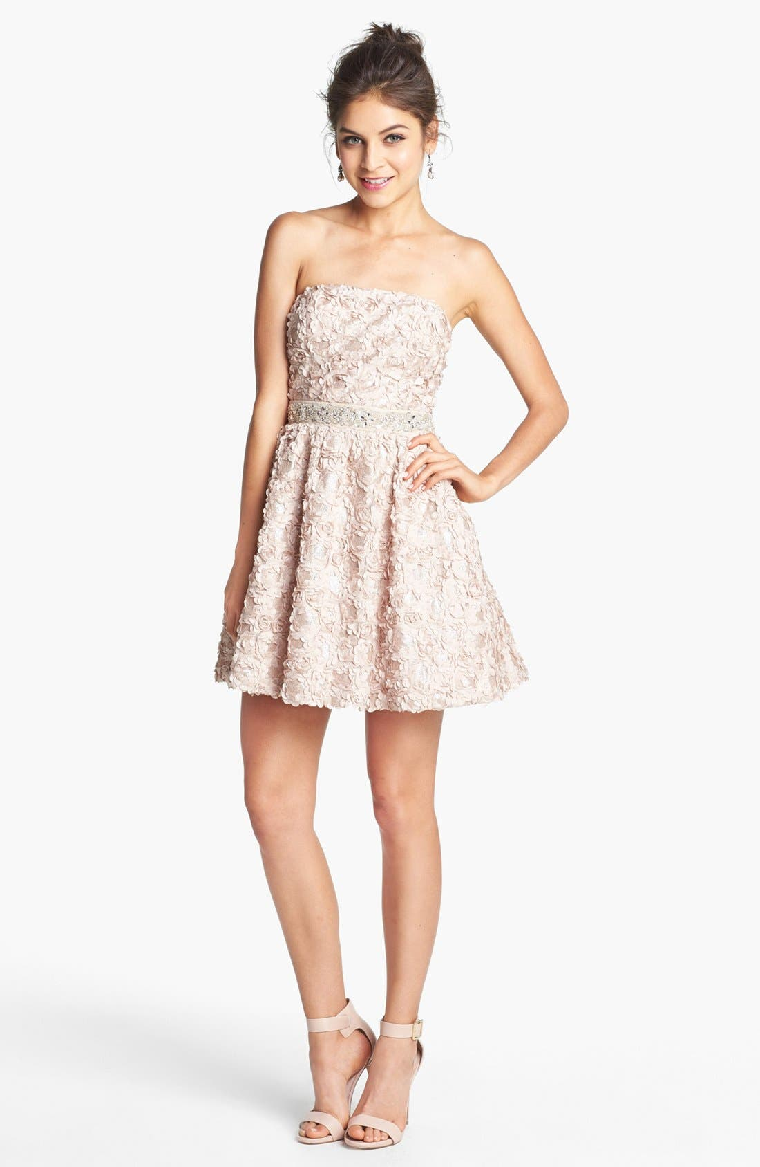 Main Image - As U Wish Embellished Rosette Strapless Dress (Juniors) (Online Only)