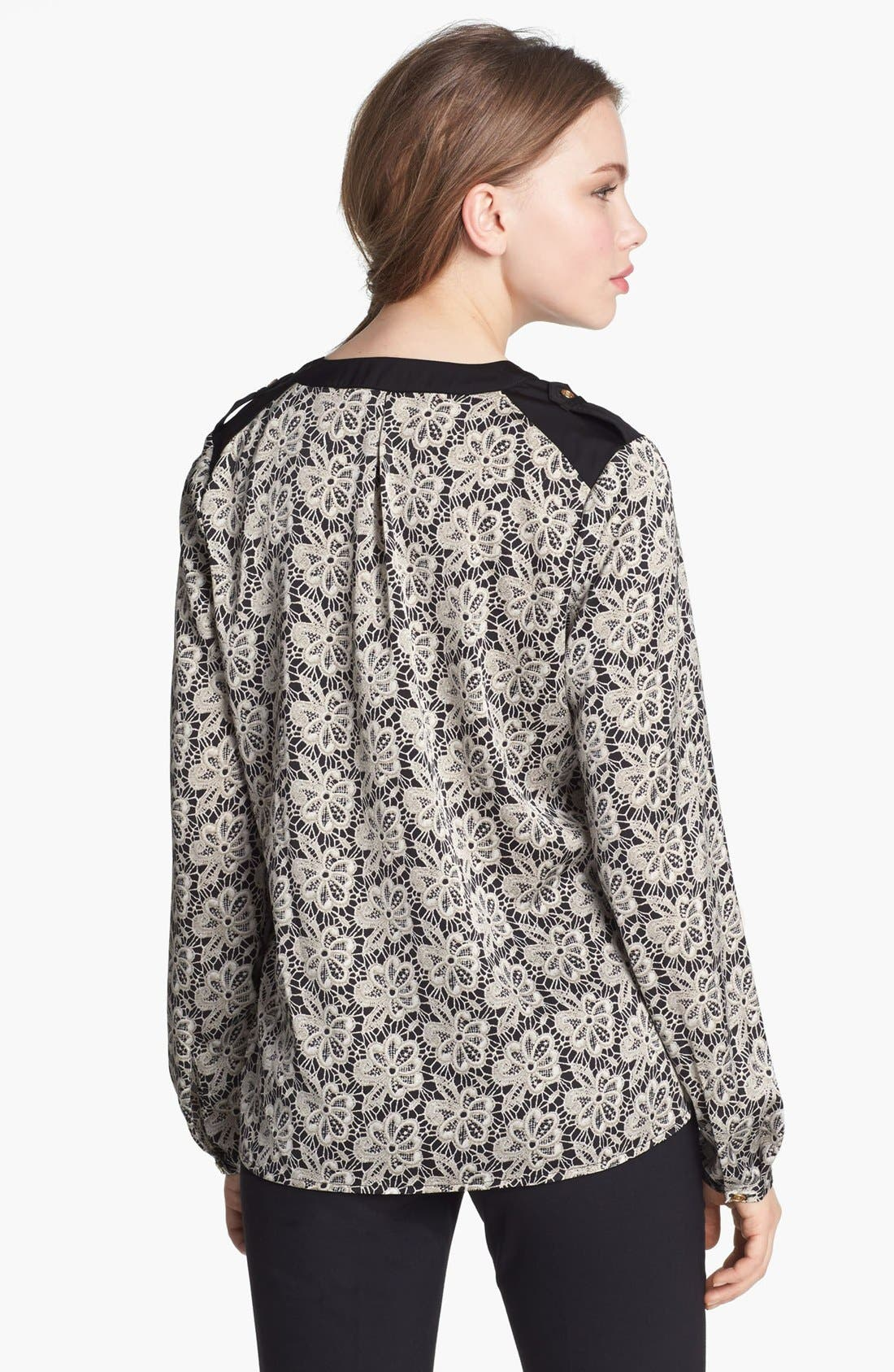 Alternate Image 2  - Vince Camuto Split Neck Lace Print Blouse