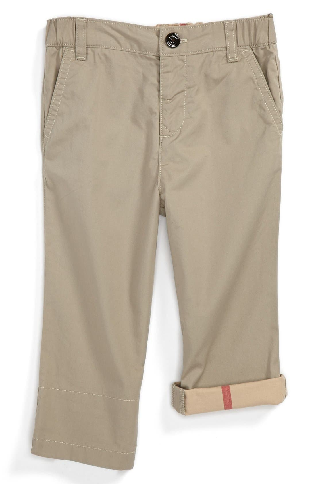 Main Image - Burberry 'Ricky' Check Lined Roll Cuff Pants (Baby Boys)