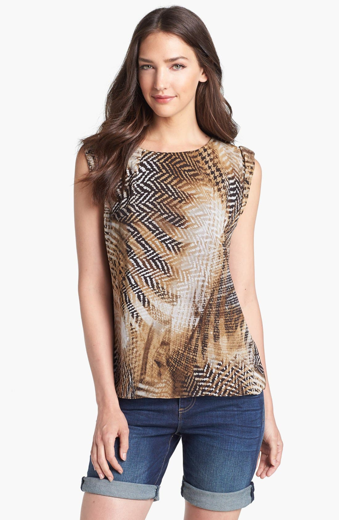 Alternate Image 1 Selected - Vince Camuto Boatneck Herringbone Print Blouse ( Petite)
