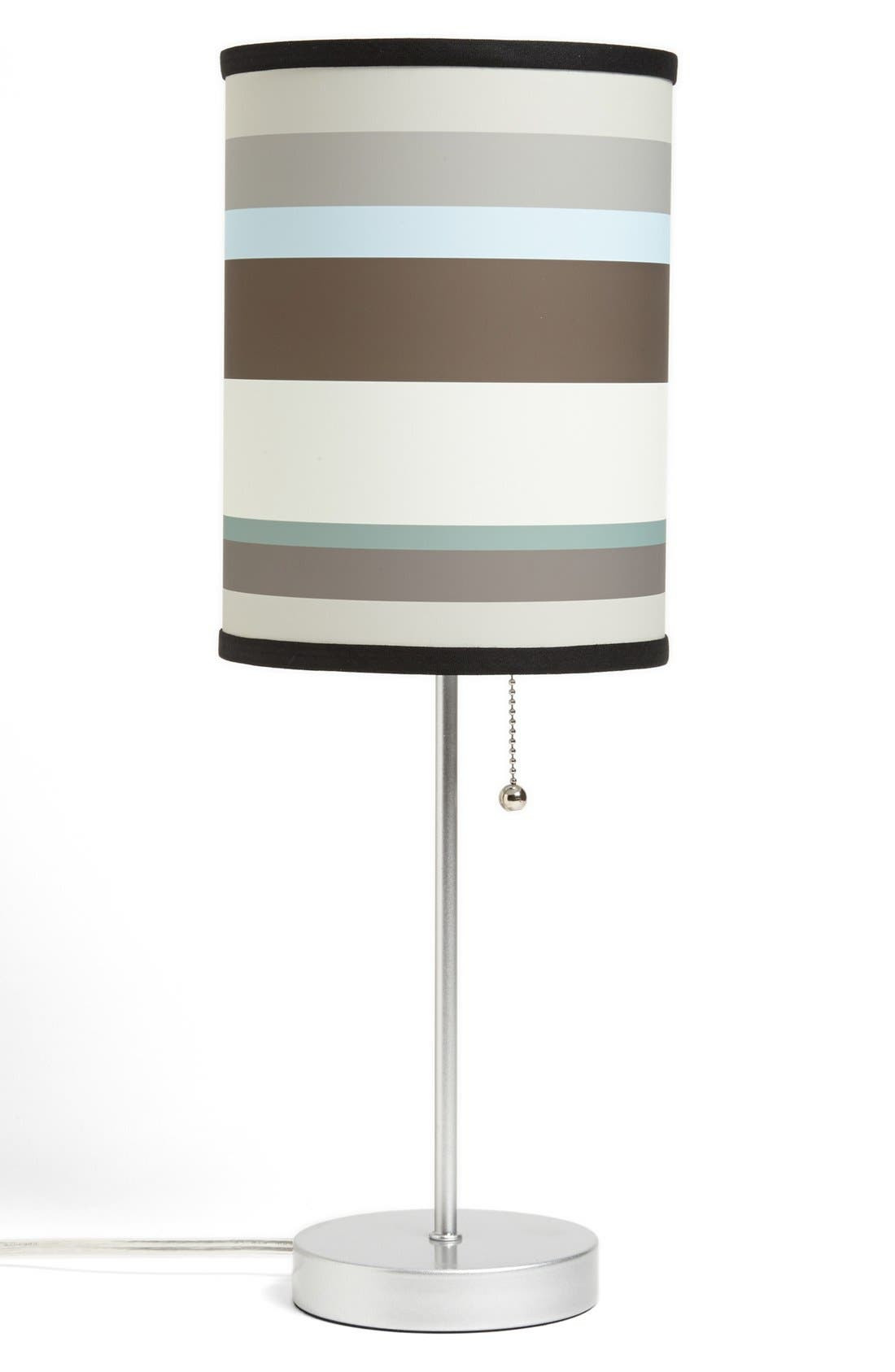Alternate Image 1 Selected - LAMP-IN-A-BOX Grey Striped Table Lamp
