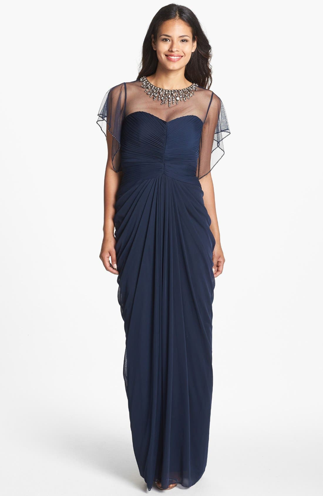 Alternate Image 1 Selected - Adrianna Papell Embellished Illusion Yoke Mesh Gown