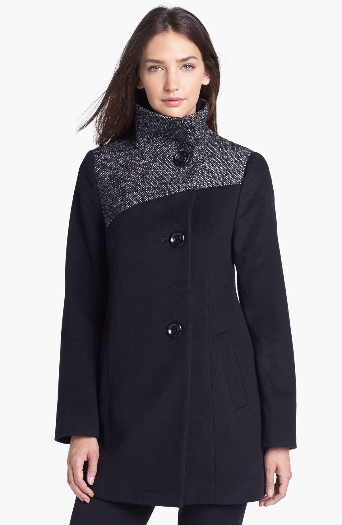Alternate Image 1 Selected - Ellen Tracy Contrast Yoke Wool Blend Coat