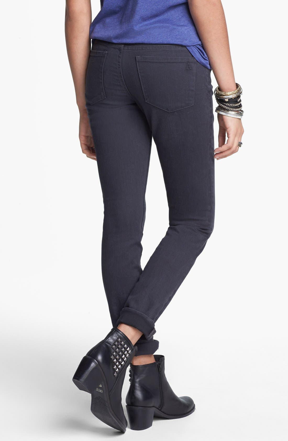 Alternate Image 2  - Articles of Society 'Mya' Stretch Skinny Jeans (Charcoal) (Juniors)