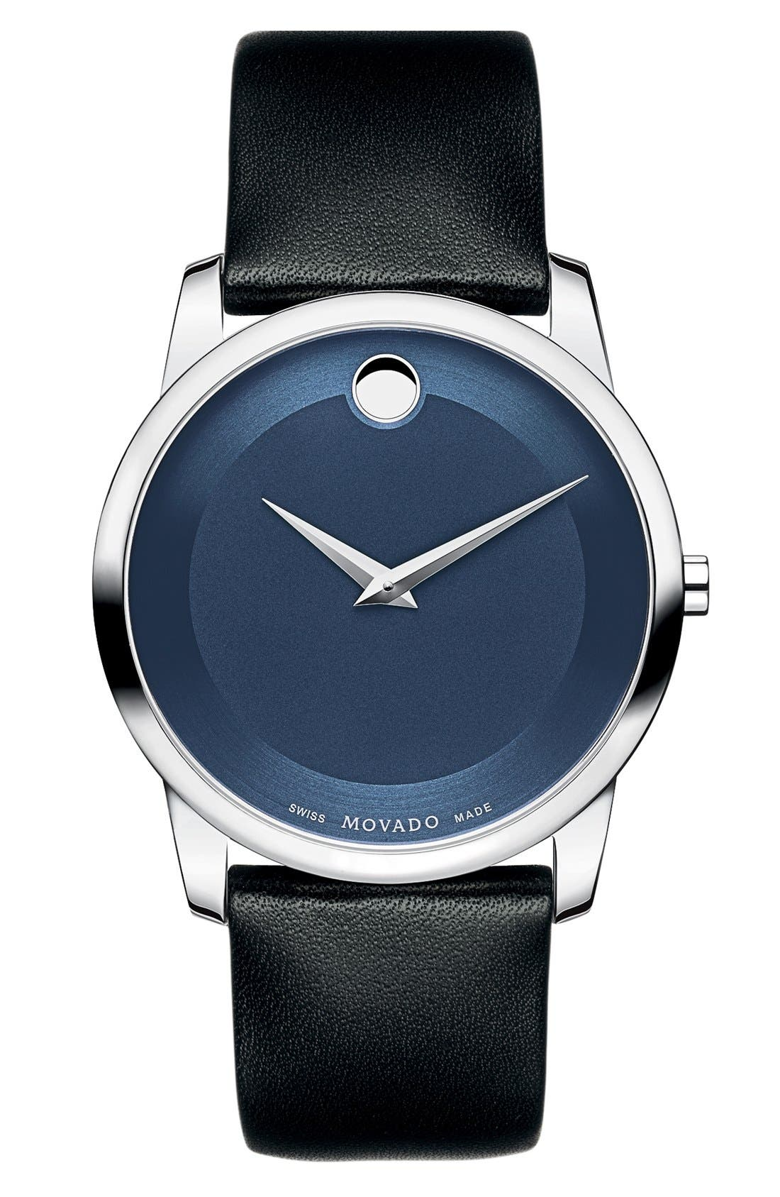 'Museum' Leather Strap Watch, 40mm,                         Main,                         color, Black/ Blue