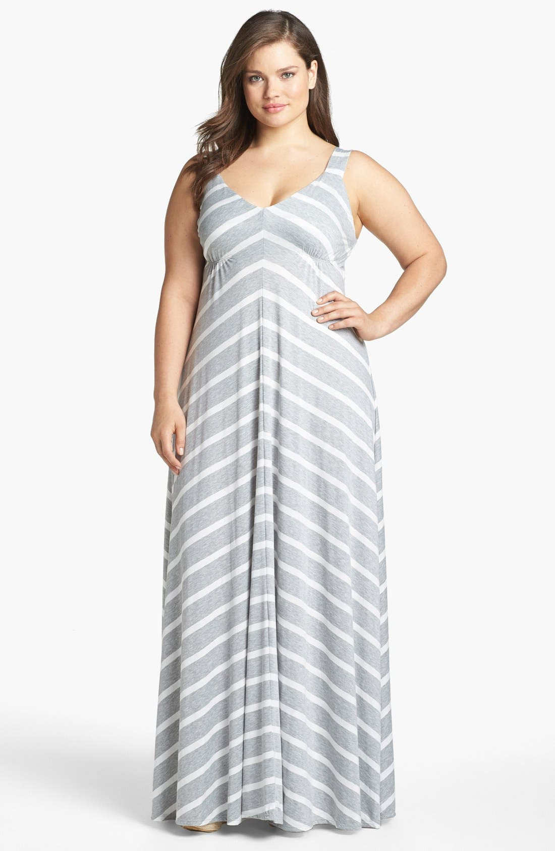 Alternate Image 1 Selected - Eight Sixty Stripe Maxi Dress (Plus Size)
