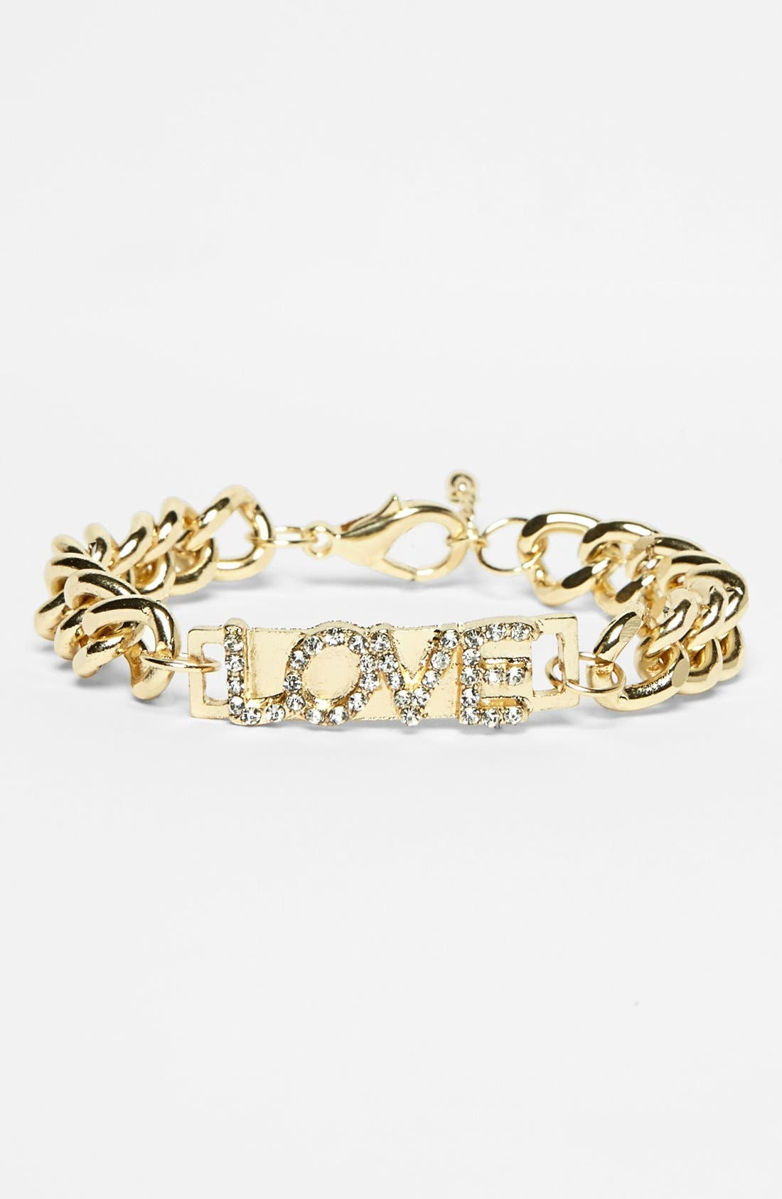 Alternate Image 1 Selected - Stephan & Co. 'Love' Chain Link Bracelet (Juniors) (Online Only)