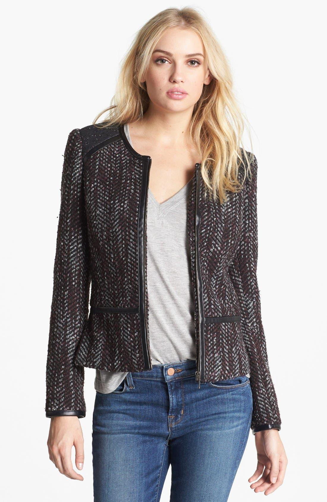 Main Image - Hinge Faux Leather Trim Tweed Jacket