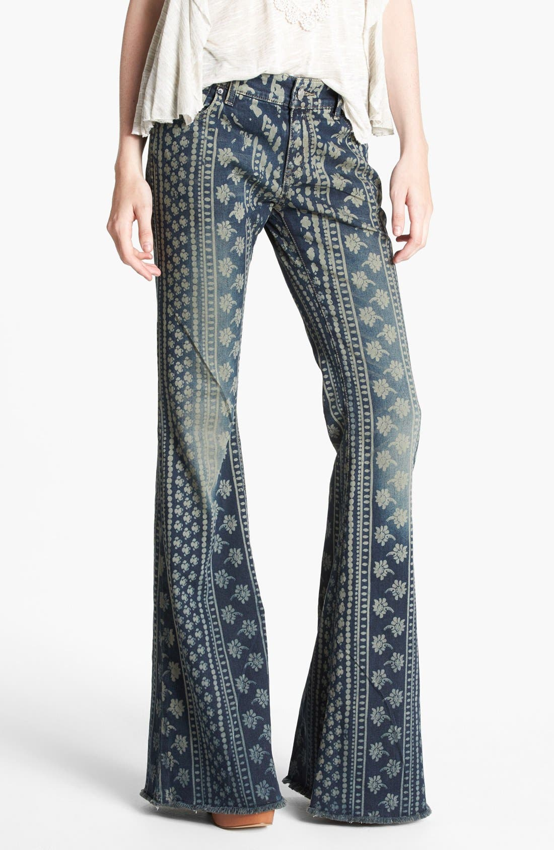 Main Image - Free People 'Bali' Print Flare Leg Jeans (Indigo Combo)