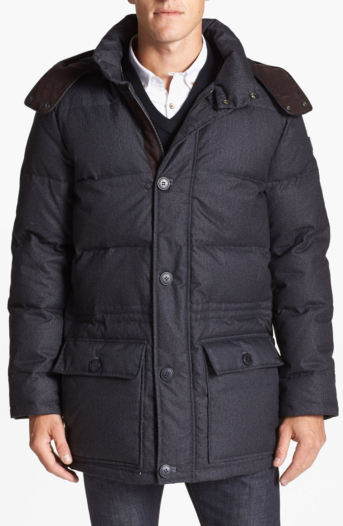 680-Down Fill Quilted Hooded Parka,                         Main,                         color, Charcoal