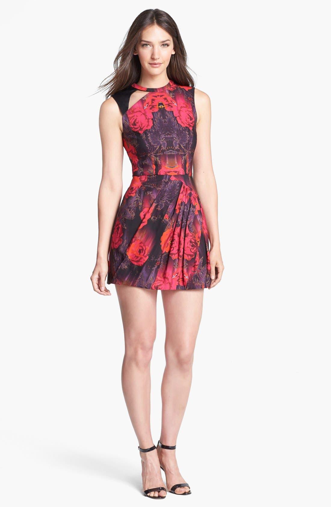 Main Image - Nanette Lepore 'Navigator' Leather Trim Print Fit & Flare Dress