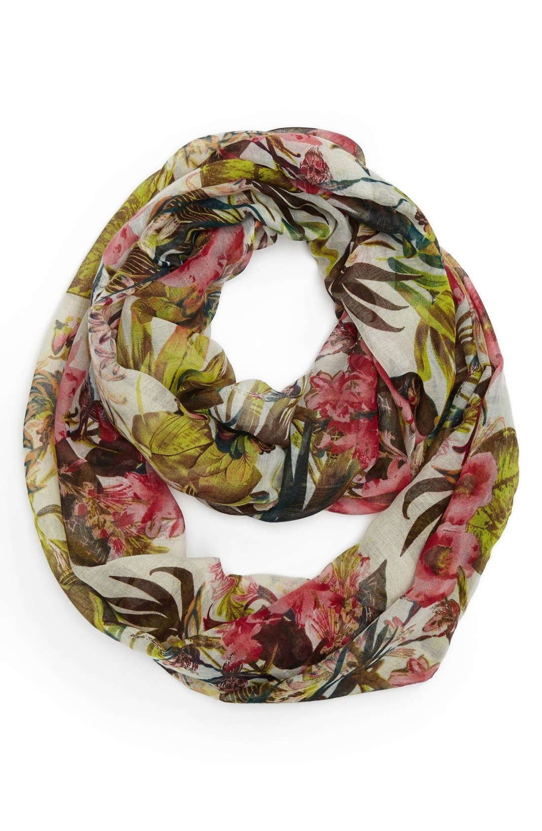 Alternate Image 1 Selected - David & Young Tropical Print Infinity Scarf (Juniors) (Online Only)