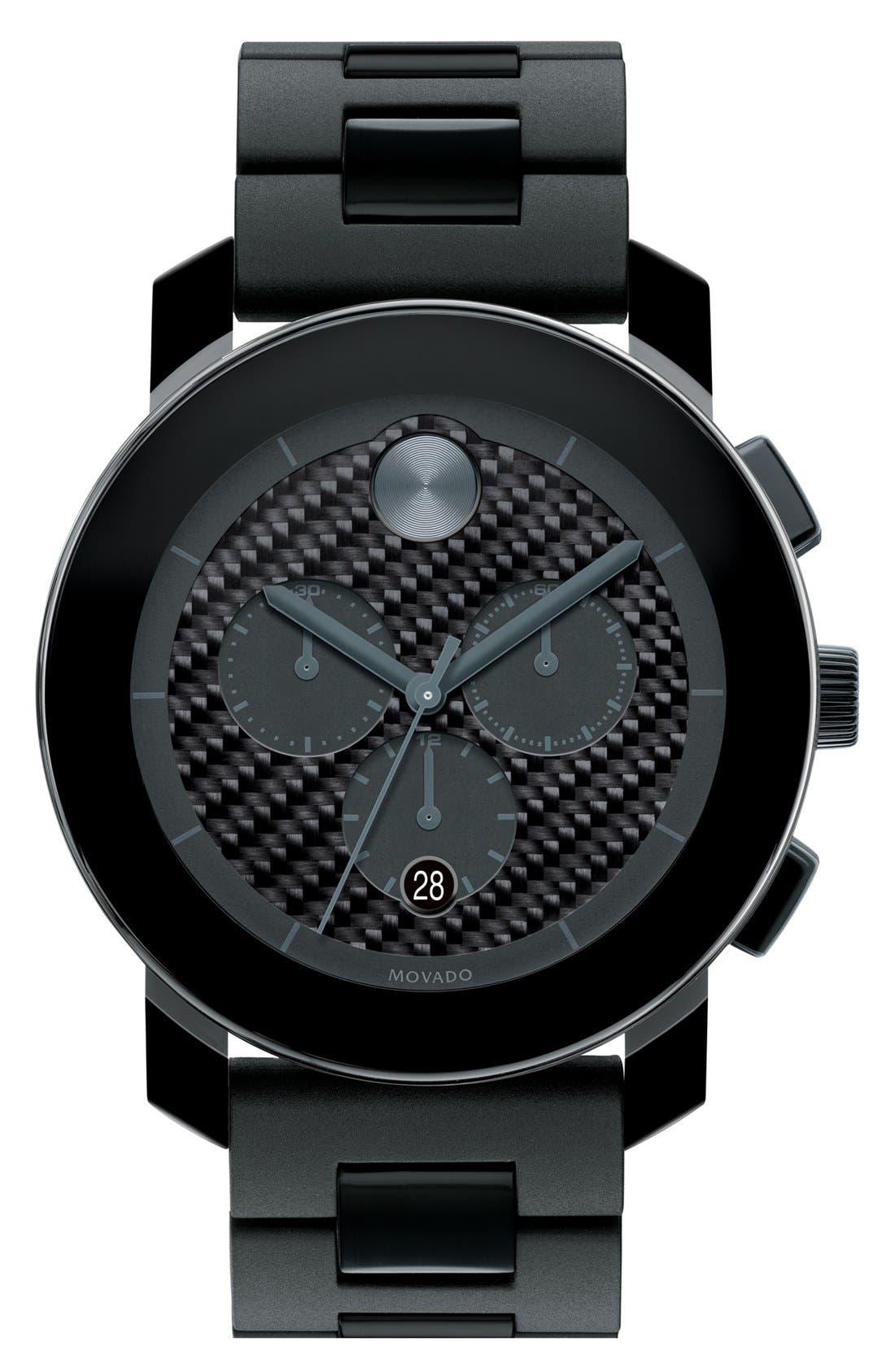 Main Image - Movado 'Bold Chrono' Carbon Fiber Dial Watch, 44mm
