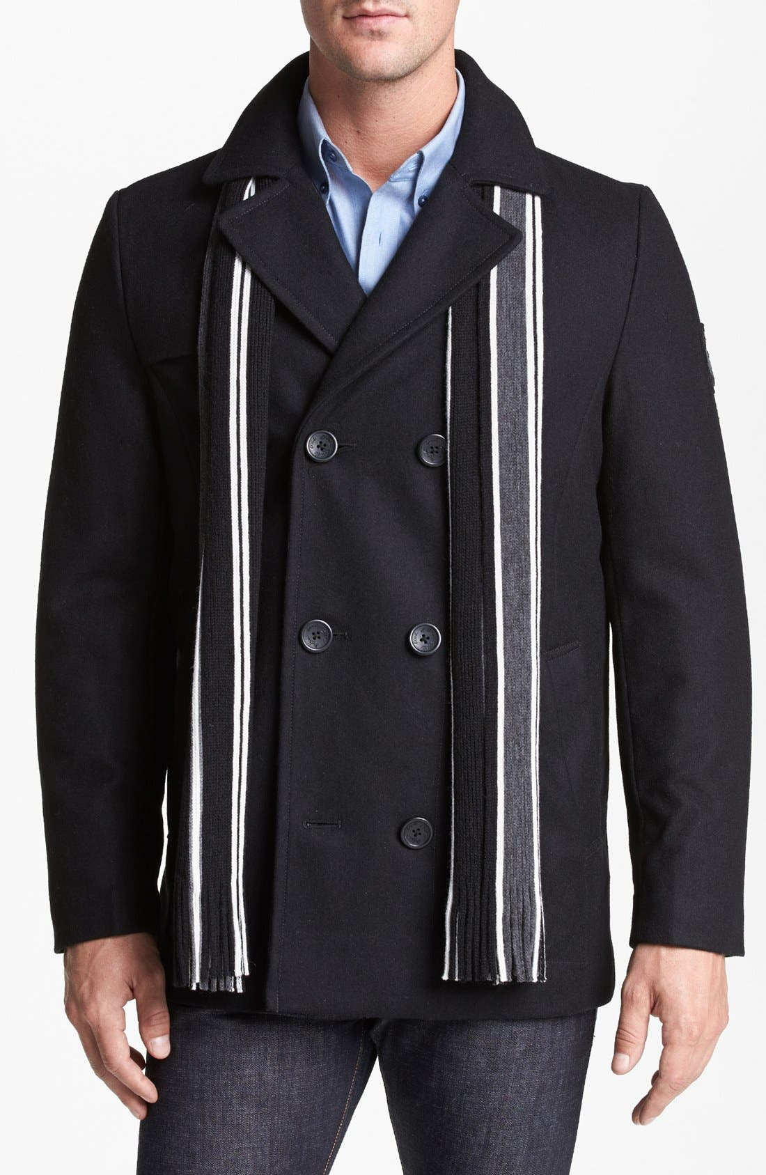 Main Image - Buffalo by David Bitton Wool Blend Peacoat with Scarf