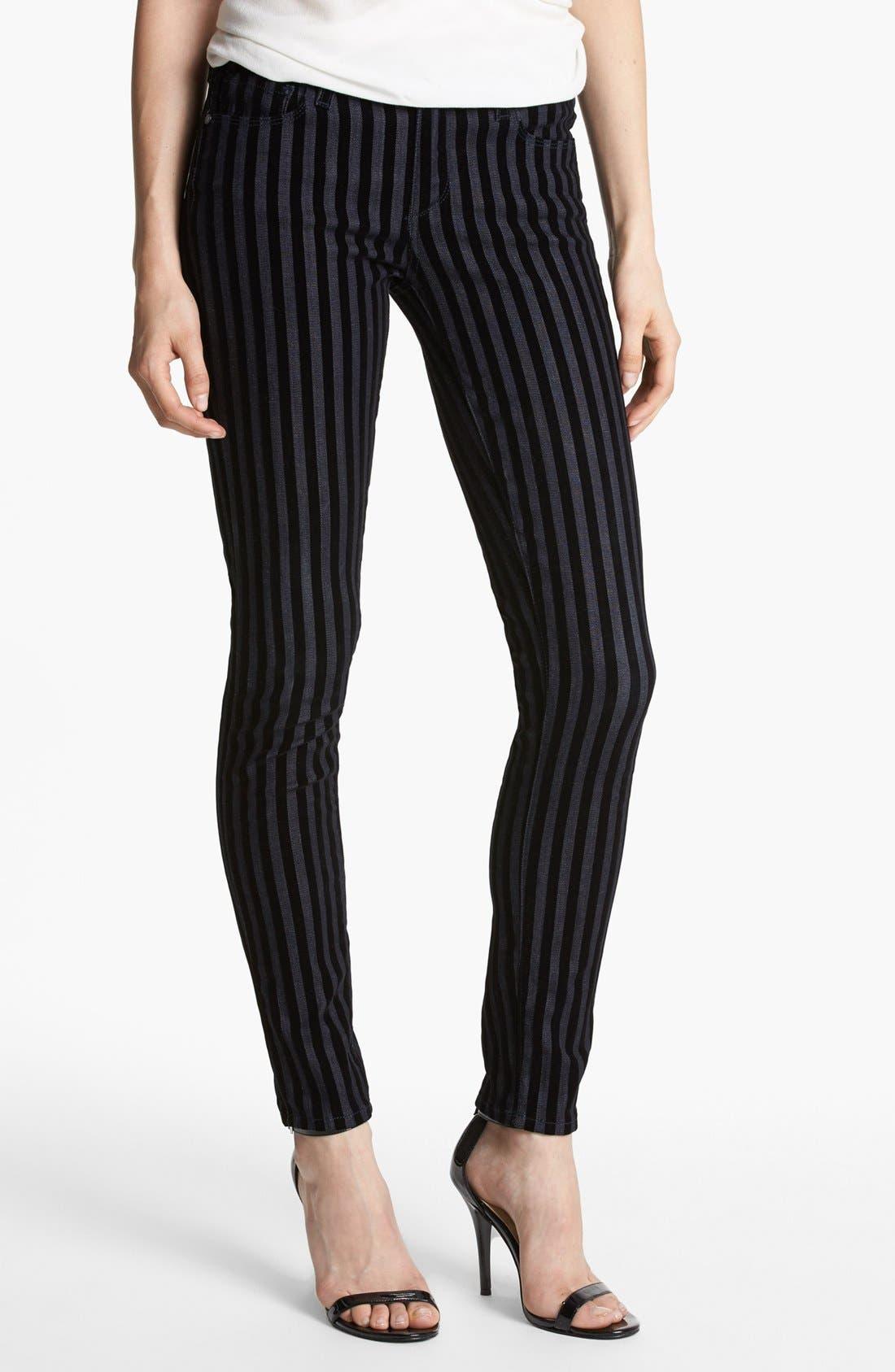 Alternate Image 1 Selected - Paige Denim Flocked Skinny Jeans (Flocked Stripe)