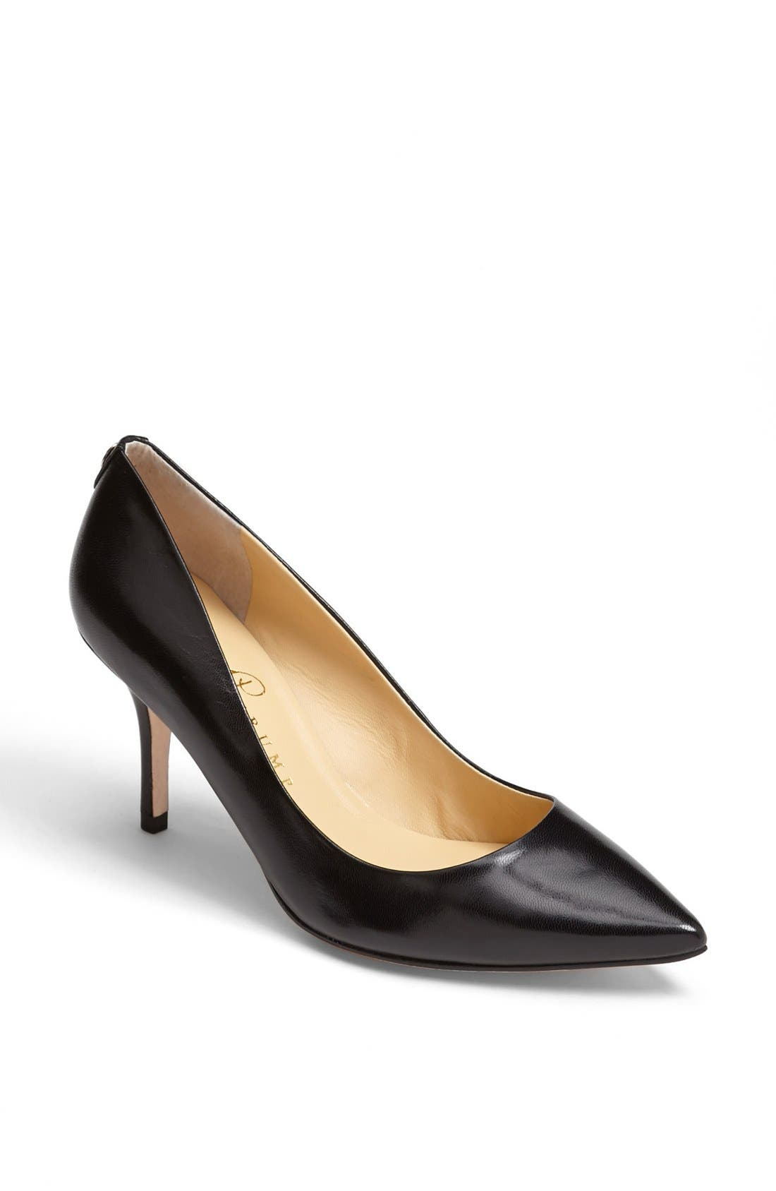 'Natalie' Pointed Toe Pump,                             Main thumbnail 1, color,                             Black Leather