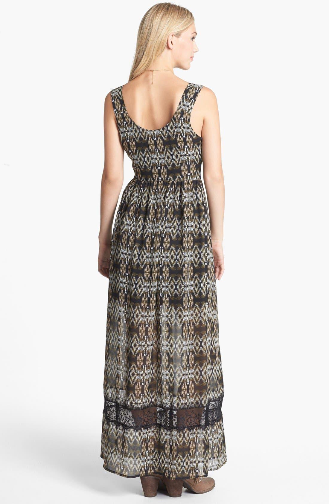 Alternate Image 2  - Mimi Chica Lace Inset Print Maxi Dress (Juniors)