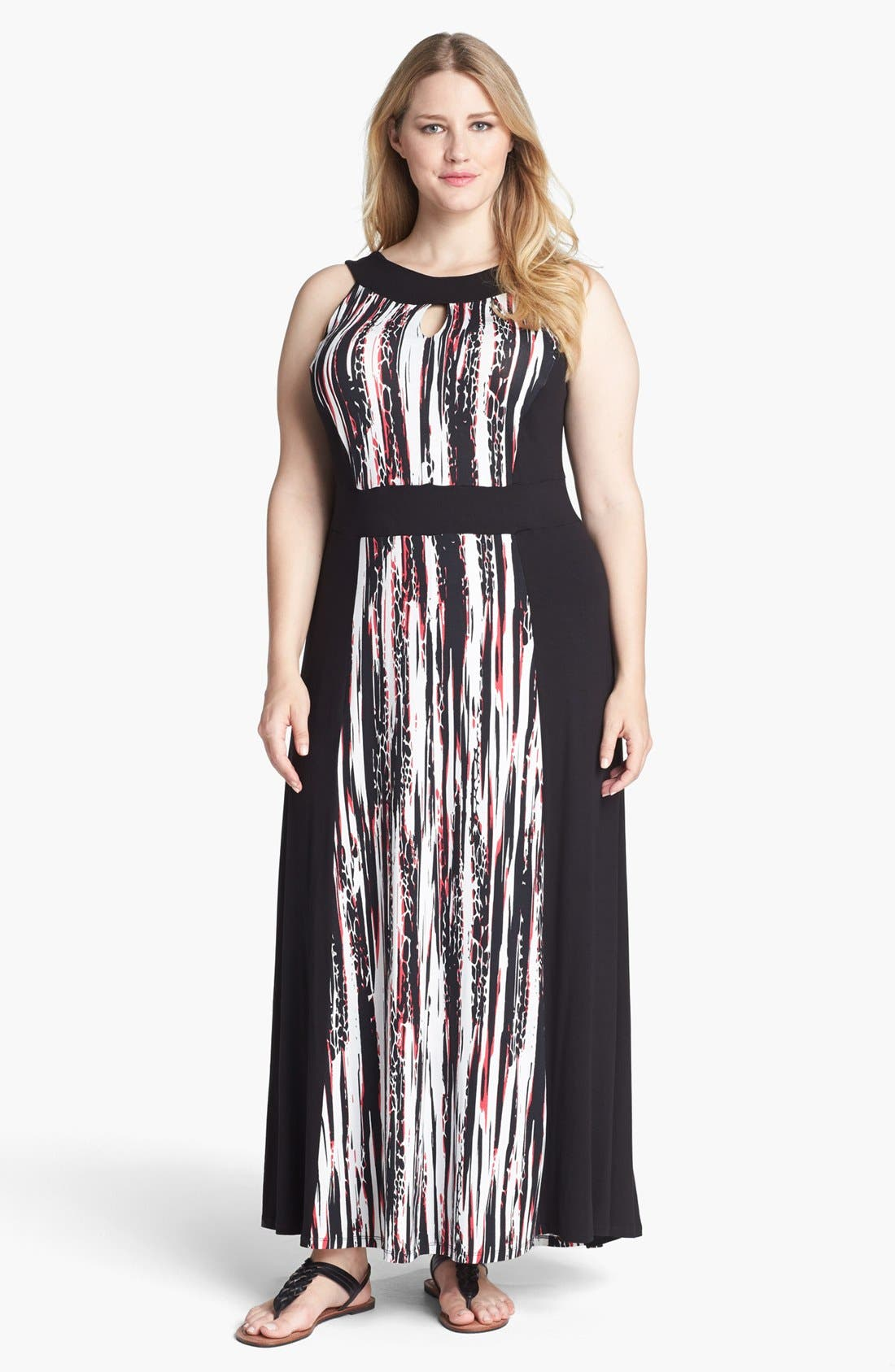 Main Image - Evans Graphic Print Jersey Maxi Dress (Plus Size)