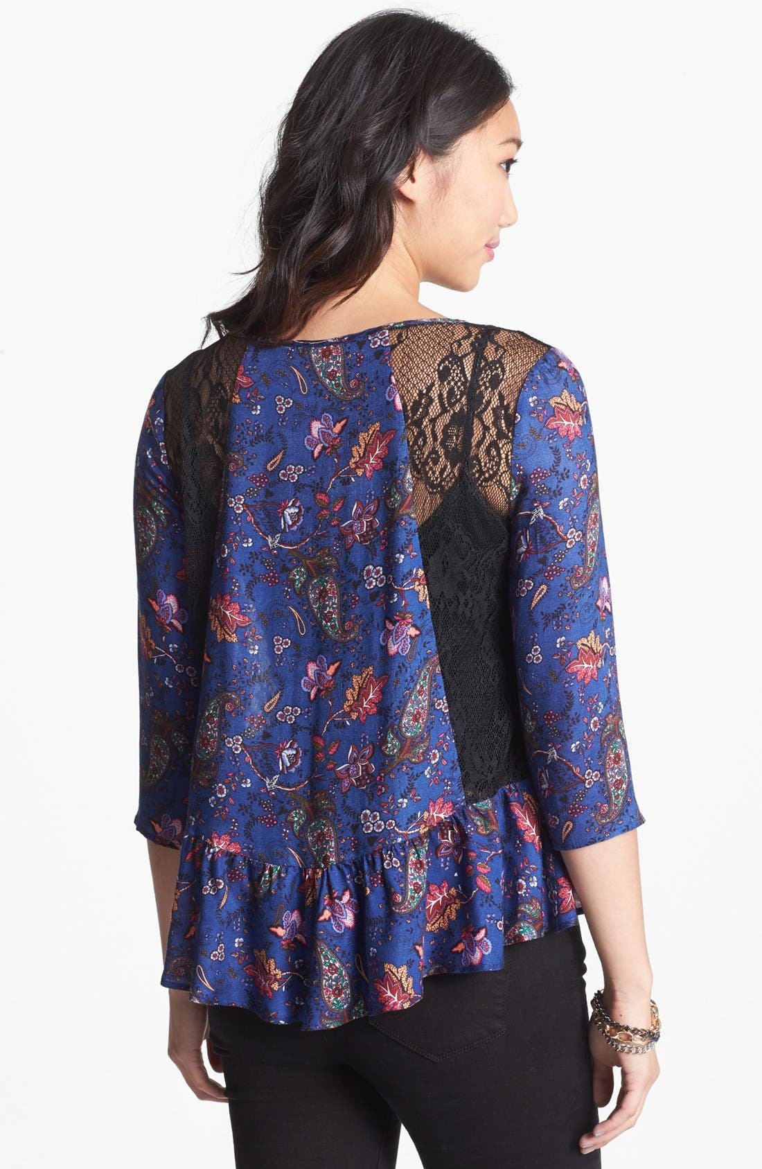 Alternate Image 2  - Lush Lace Inset Print Peplum Top (Juniors)
