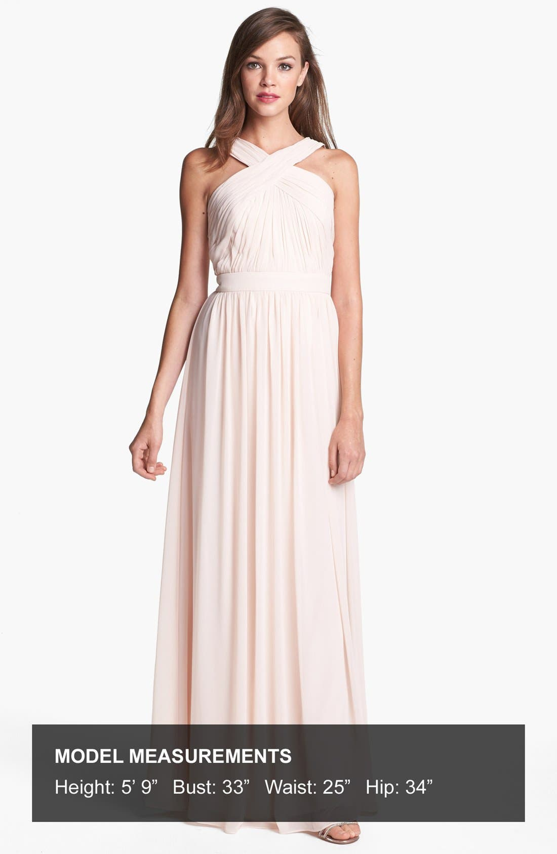 Alternate Image 4  - Monique Lhuillier Bridesmaids Crisscross Chiffon Gown (Nordstrom Exclusive)