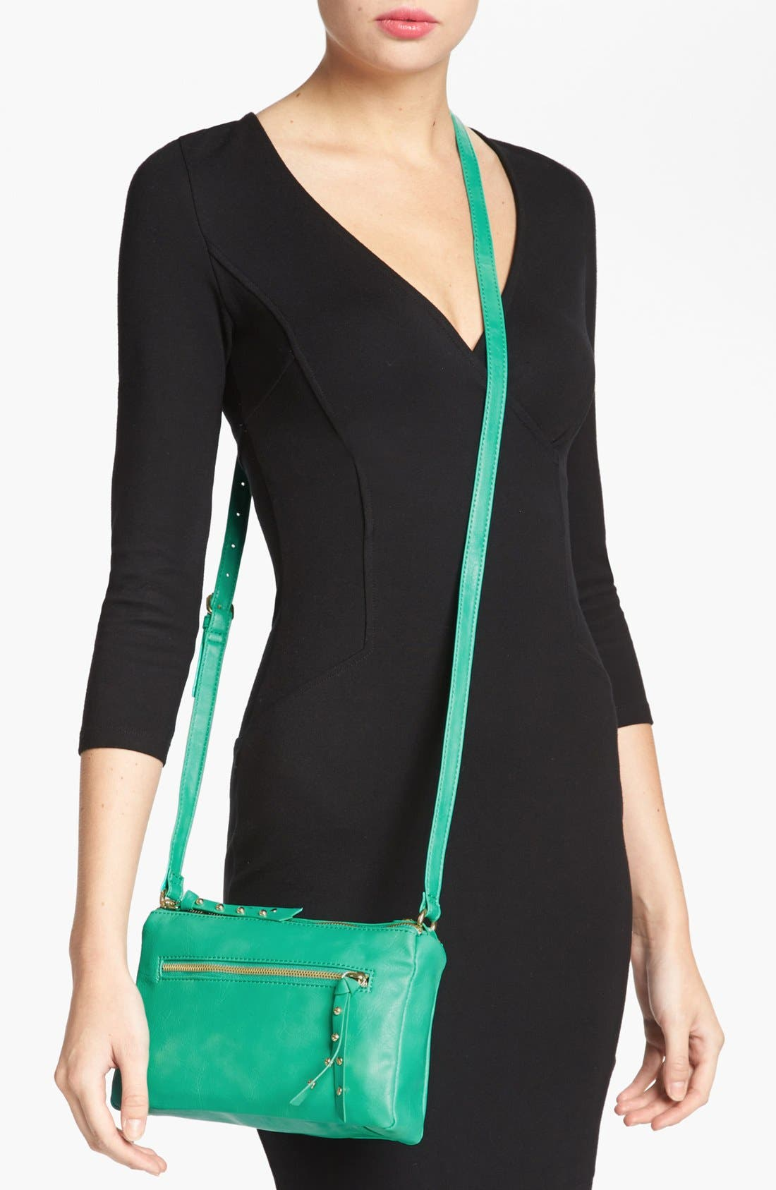 Alternate Image 2  - Collection B Faux Leather Crossbody Bag (Juniors)
