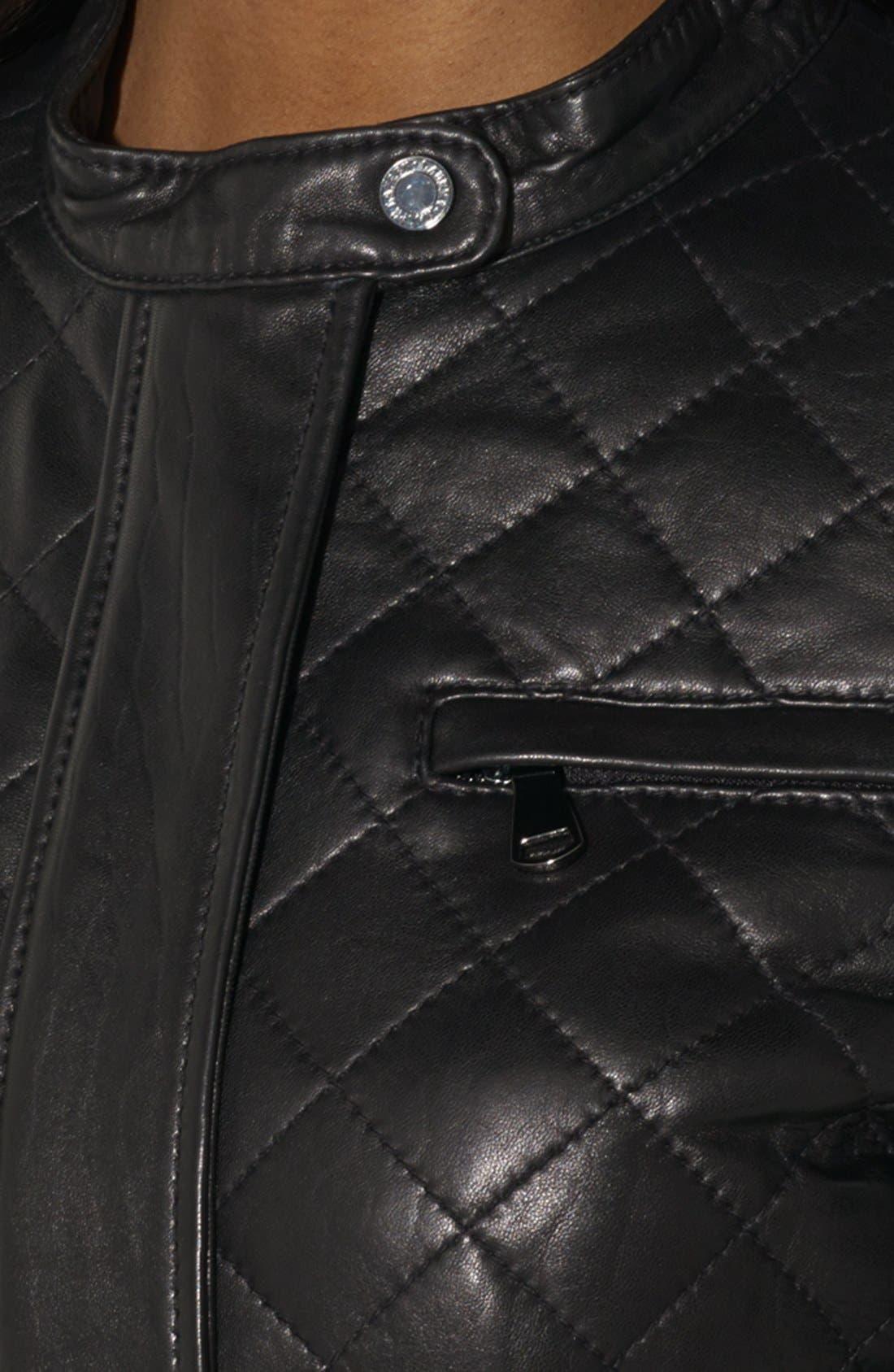 Alternate Image 3  - Lauren Ralph Lauren Quilted Leather Moto Jacket