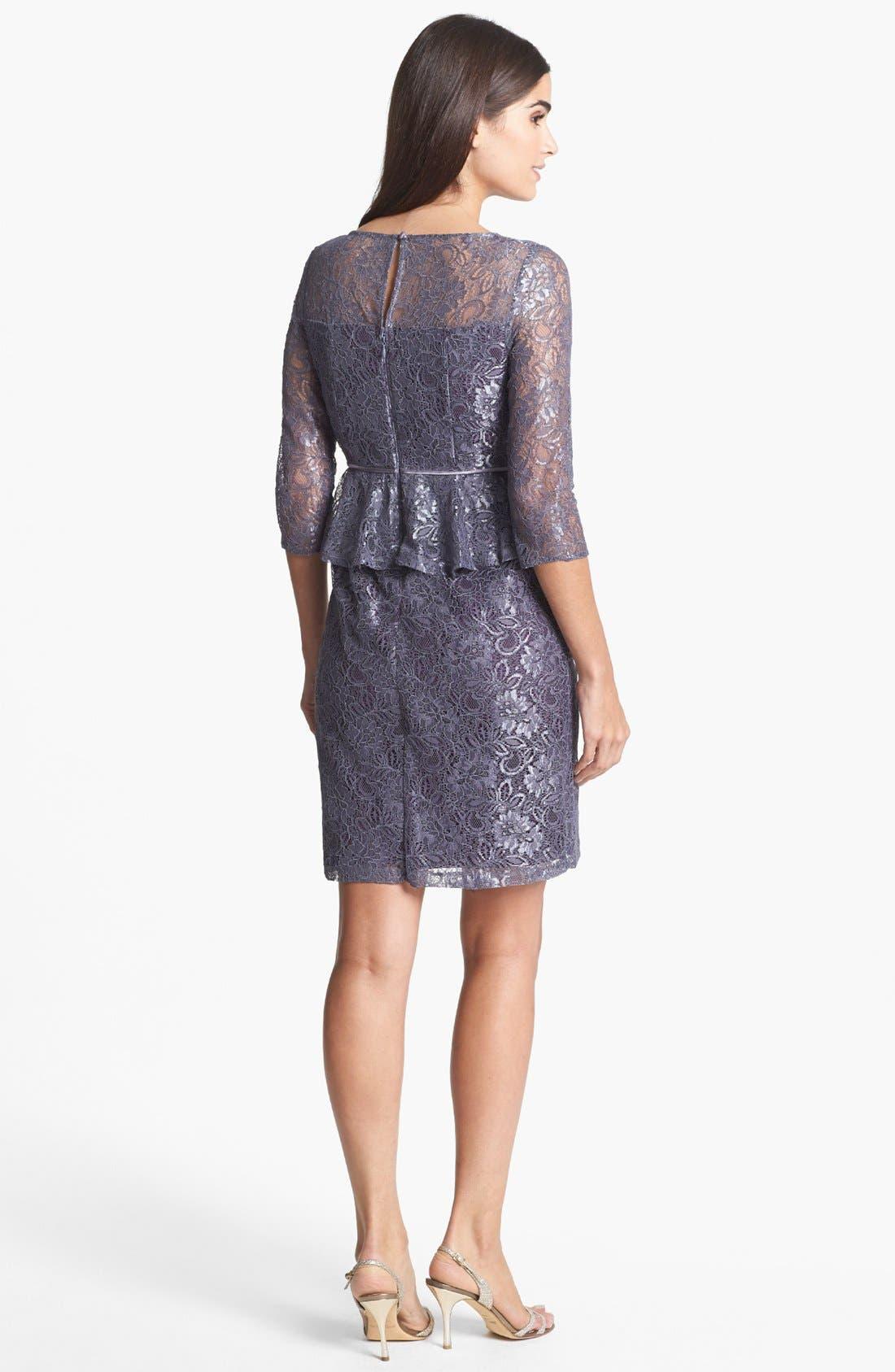 Alternate Image 2  - Adrianna Papell Lace Peplum Sheath Dress (Petite)
