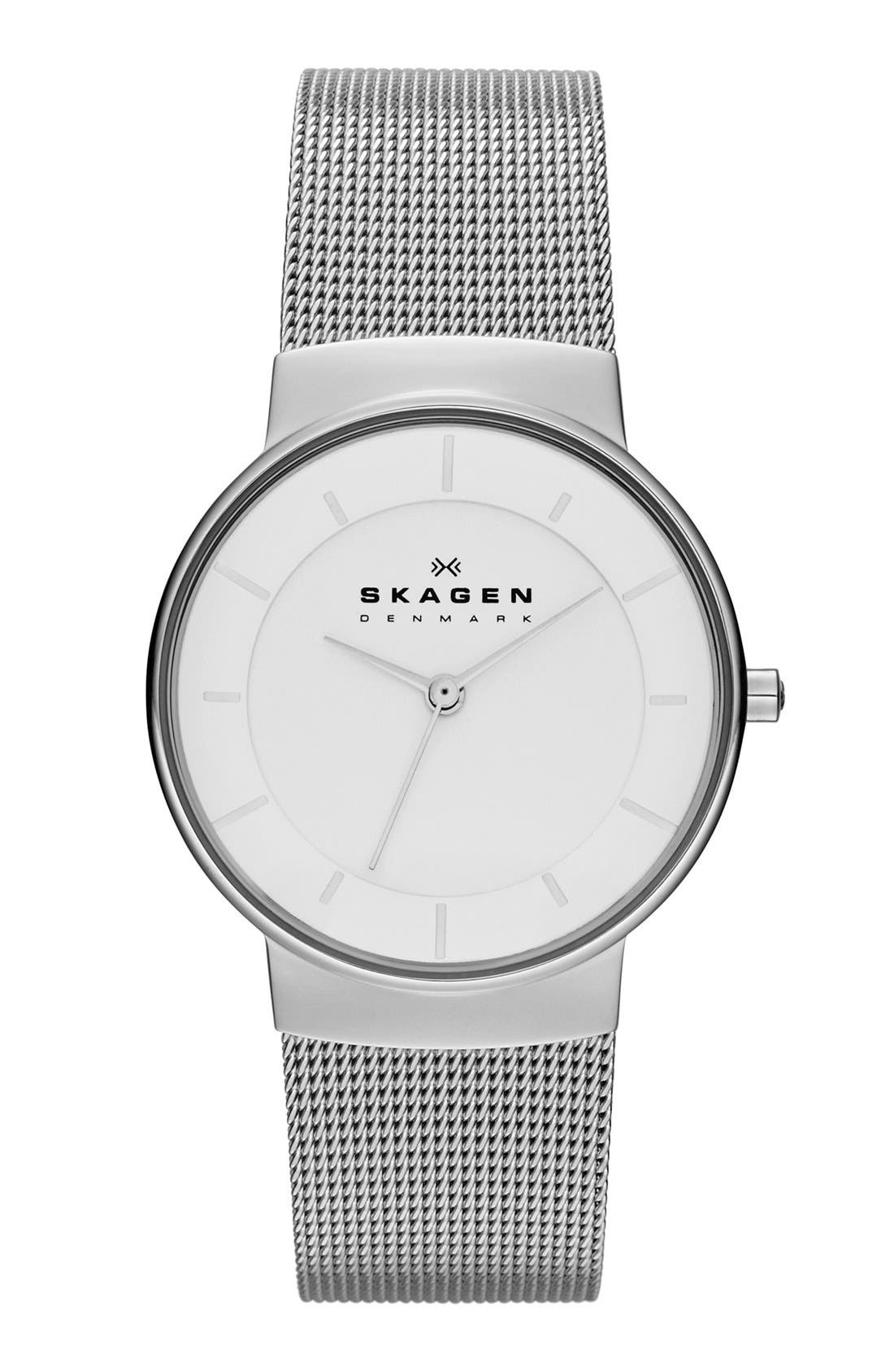 Alternate Image 1 Selected - Skagen 'Nicoline' Round Mesh Strap Watch, 32mm
