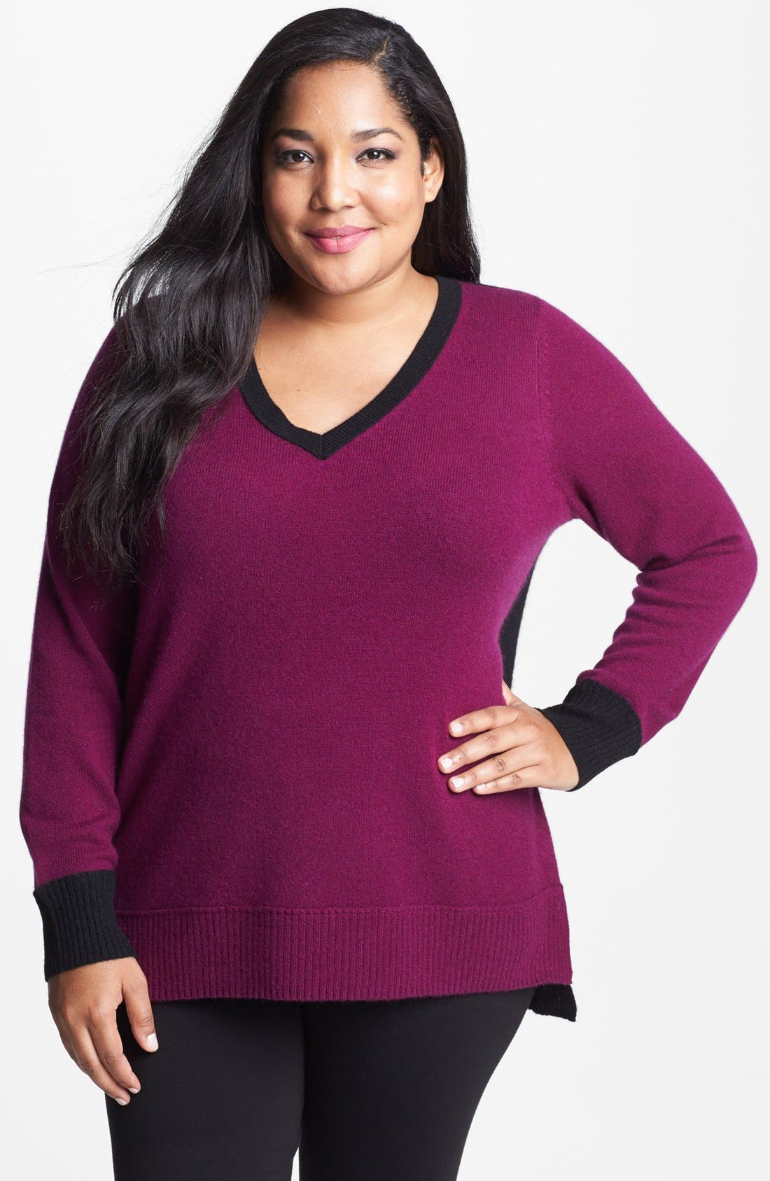 Alternate Image 1 Selected - Halogen® Colorblock Cashmere Sweater (Plus Size)