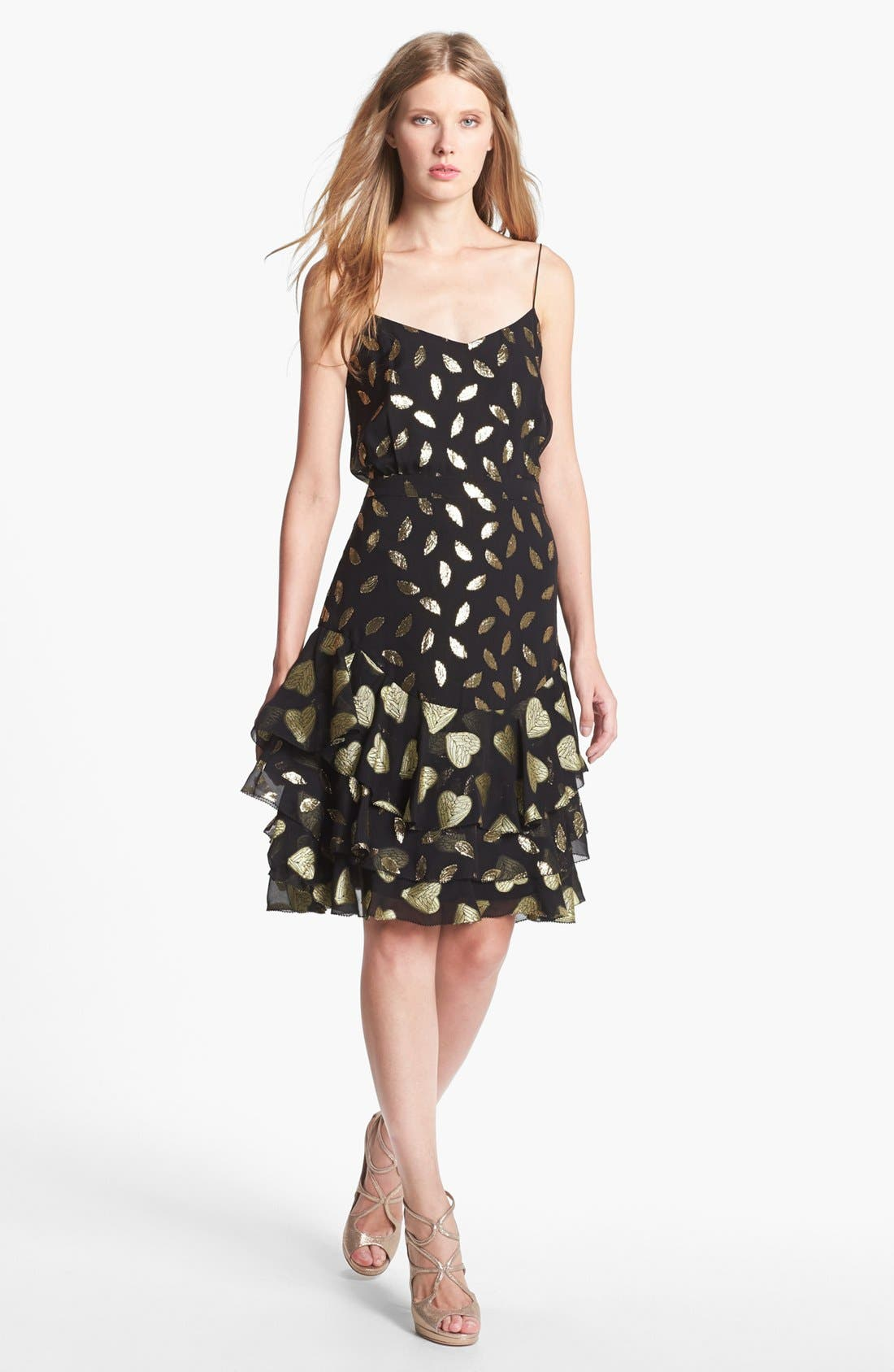 Main Image - Diane von Furstenberg 'Siena' Metallic Silk Slip Dress