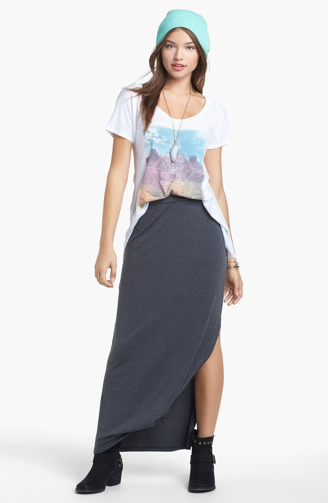 Main Image - Lily White Heathered Side Slit Maxi Skirt (Juniors)