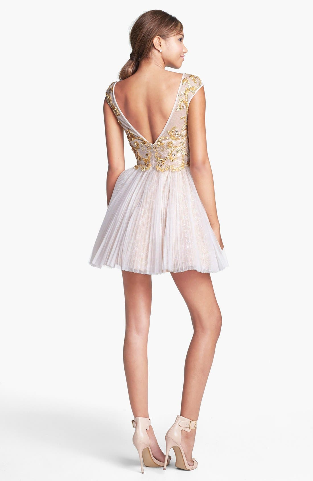 Alternate Image 2  - Sherri Hill Embellished Lace Fit & Flare Dress