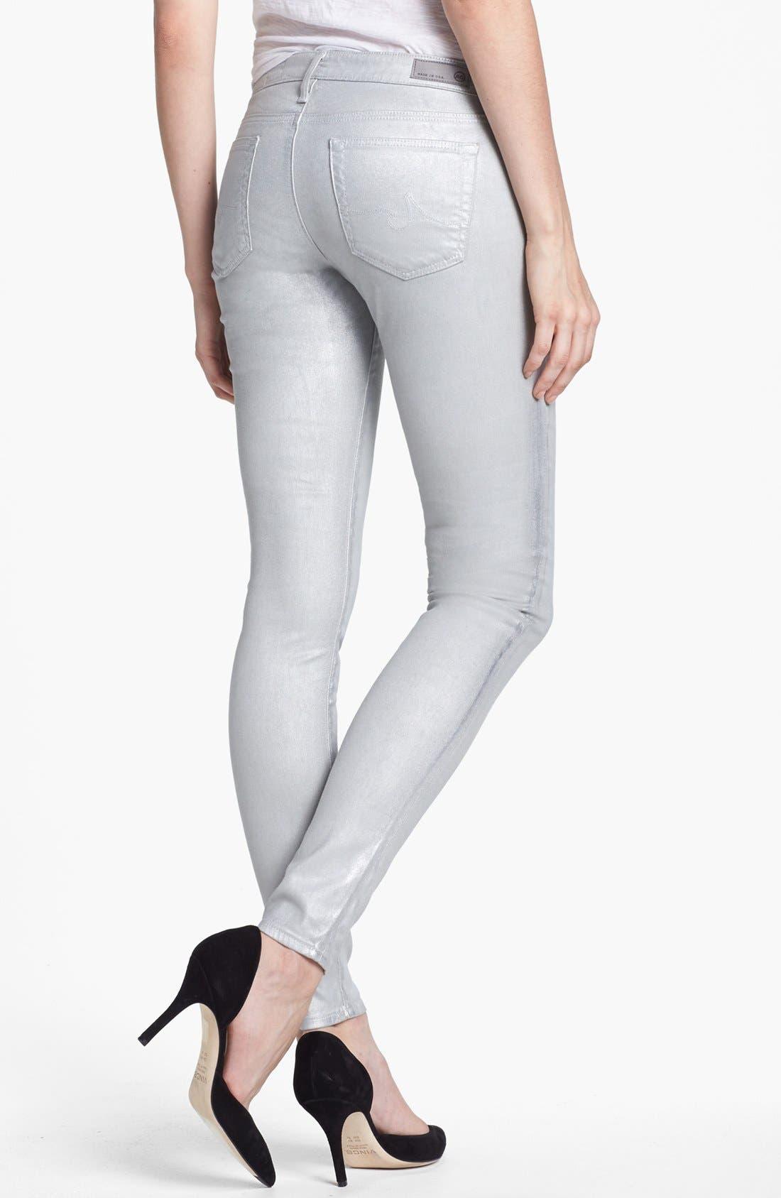 Alternate Image 2  - AG Jeans 'The Absolute Legging' Metallic Skinny Jeans (Eyeshadow Silver)