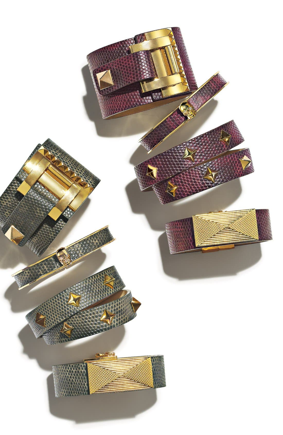 'Tour of Duty' Studded Buckle Wrap Bracelet,                             Alternate thumbnail 2, color,