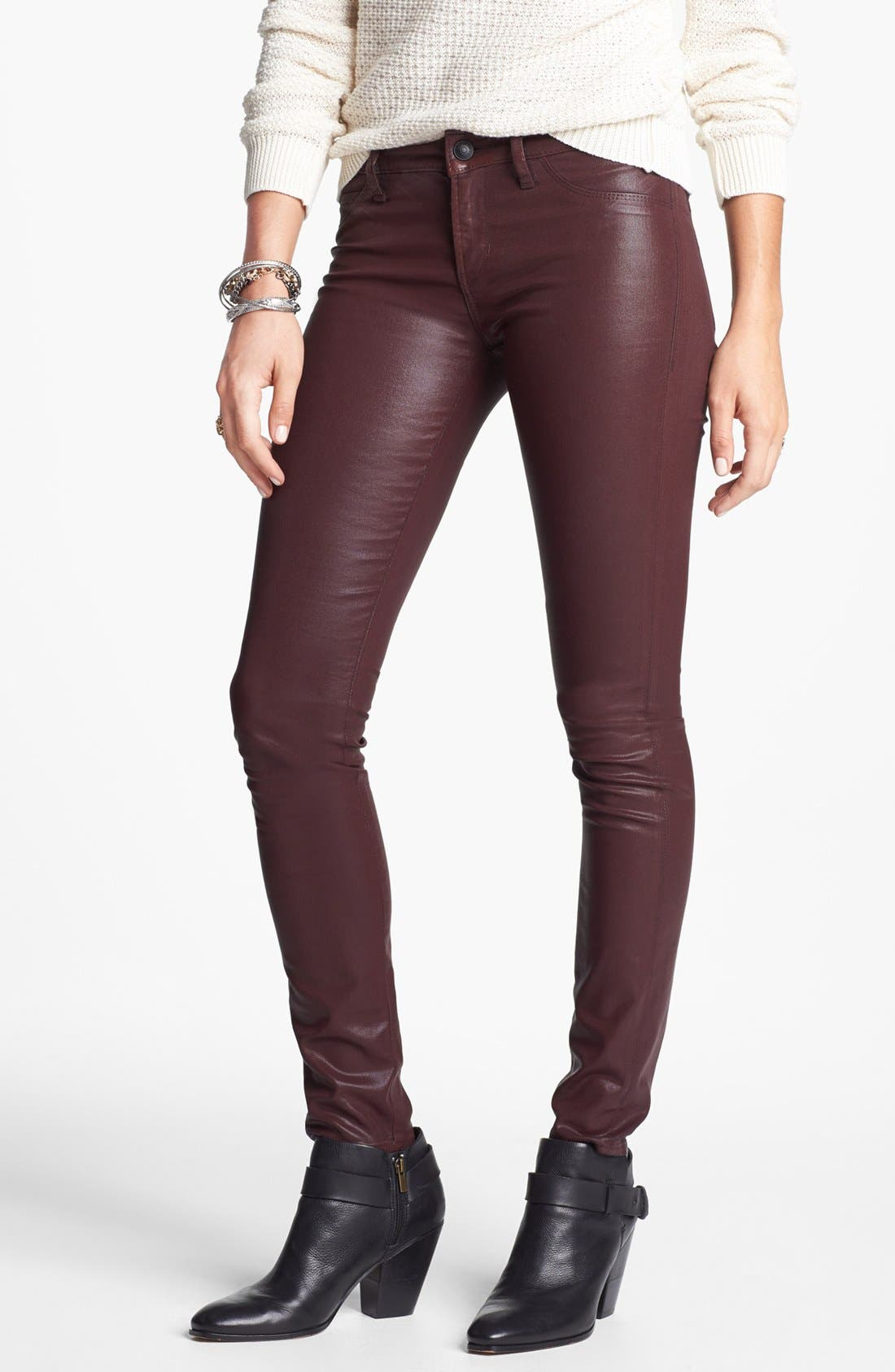 Alternate Image 1 Selected - Articles of Society 'Mya' Coated Skinny Jeans (Ox Blood) (Online Only)