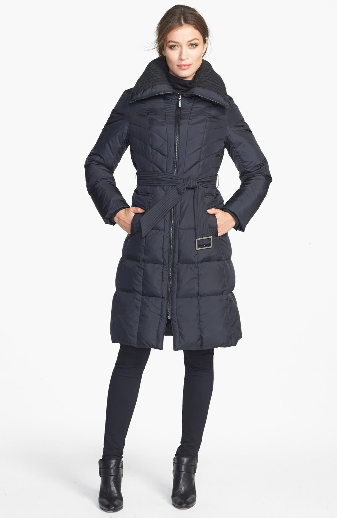 Alternate Image 1 Selected - Cole Haan Knit Collar Down & Feather Coat